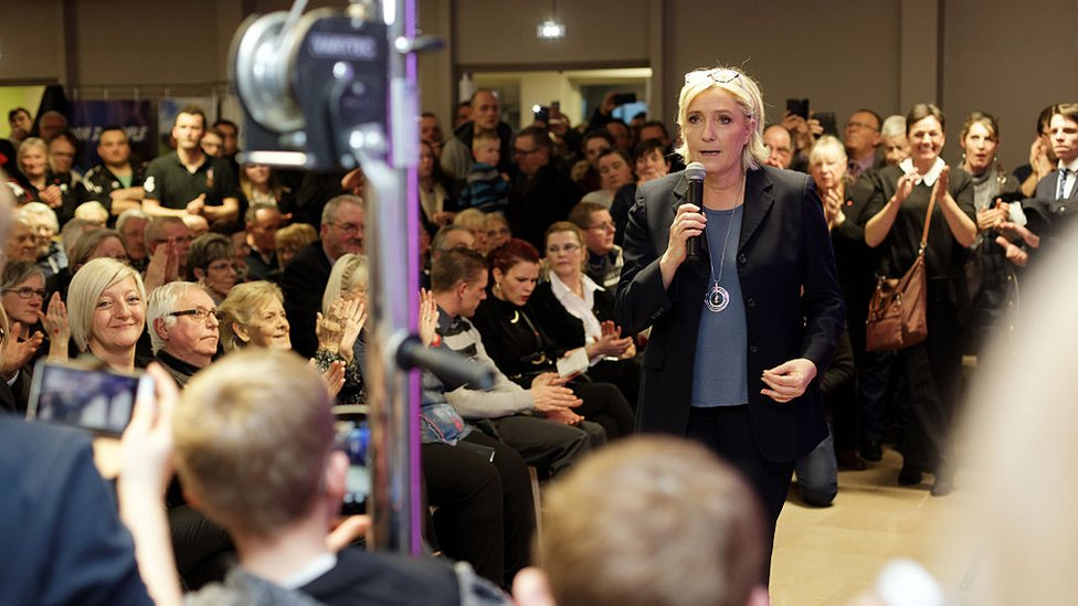 French far-right party National Front leader Marine Le Pen