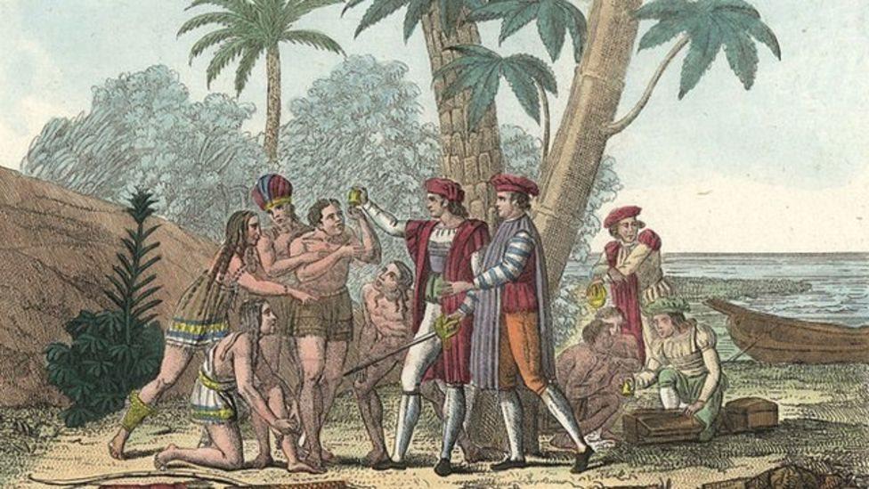 Taínos recibiendo a Cristóbal Colón.
