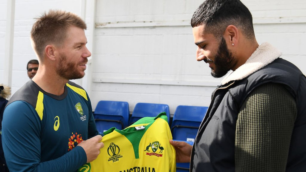 David Warner meets net bowler Jaykishan Plaha who he struck on head