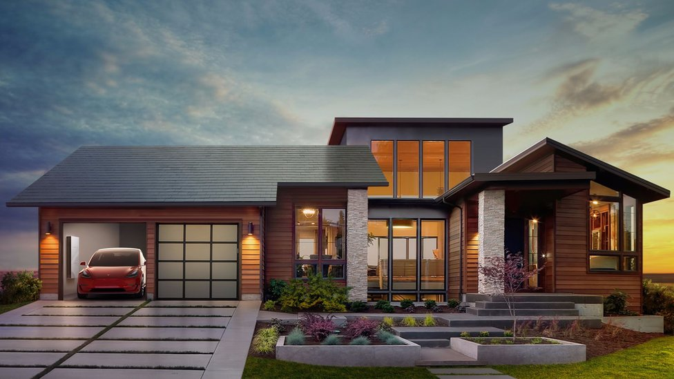 What a house fitted with Tesla's solar roof tiles may look like