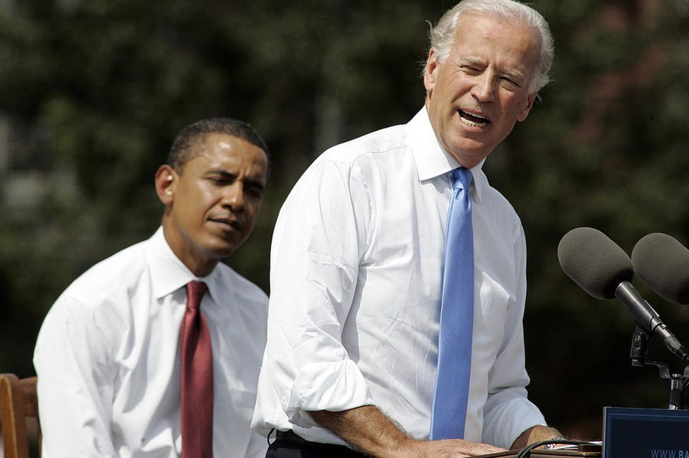 Mr Biden speaks in 2008 after being formally introduced as Barack Obama's running mate