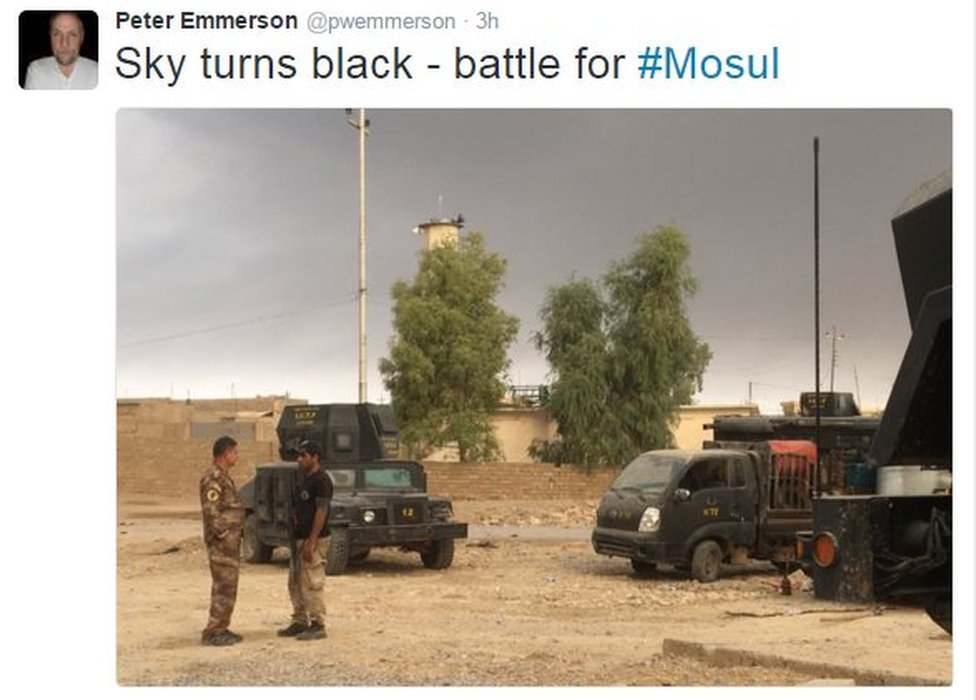 Tweet from Peter Emmerson reads: Sky turns black on battle for Mosul
