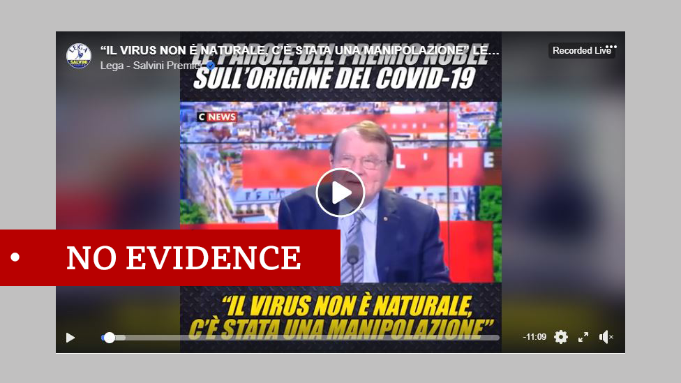 "Luc Montagnier interview screenshot. Labelled ""no evidence"""