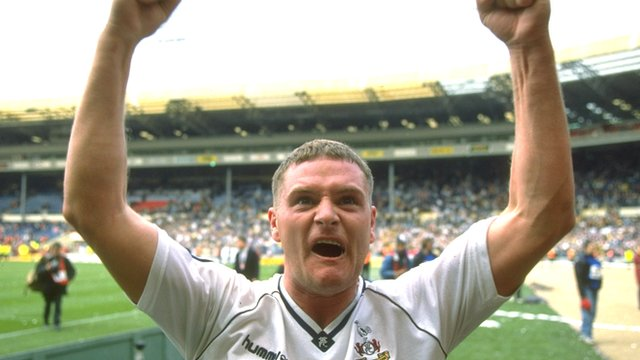 Paul Gascoigne celebrates after brilliant FA Cup free-kick