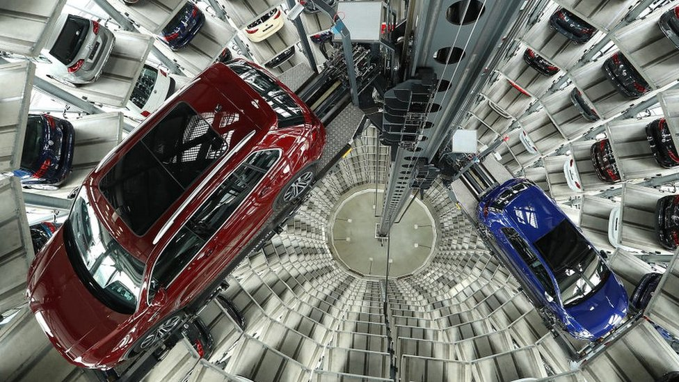 Volkswagen cars in one of the twin towers at its Autostadt customer centre, in Wolfsburg, Germany