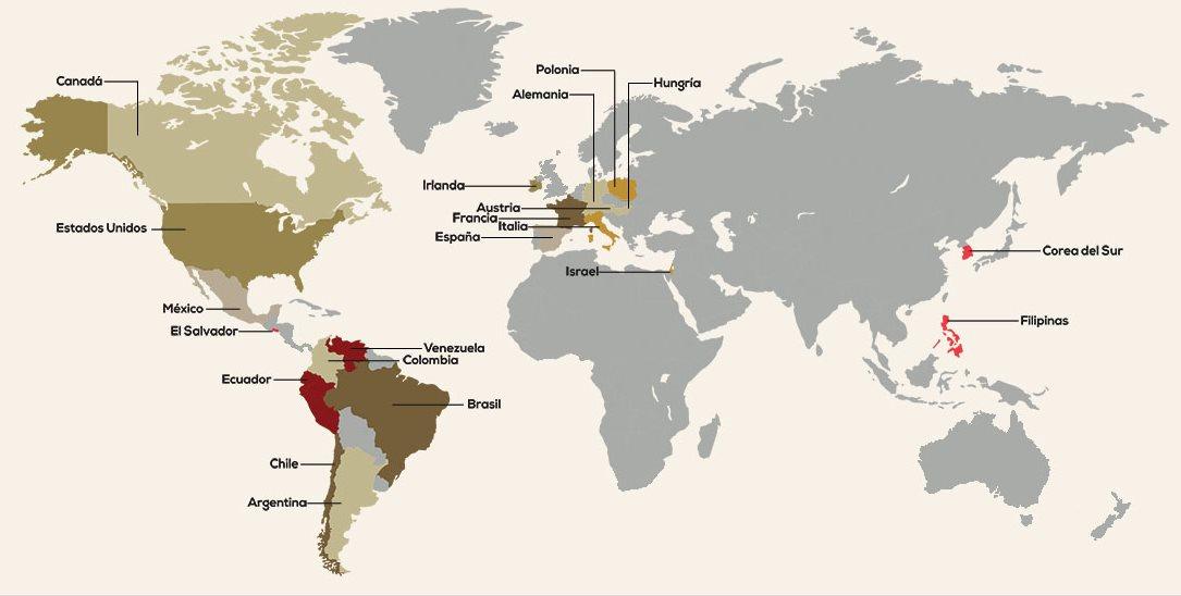 Un mapa con países con presencia de Legionarios de Cristo