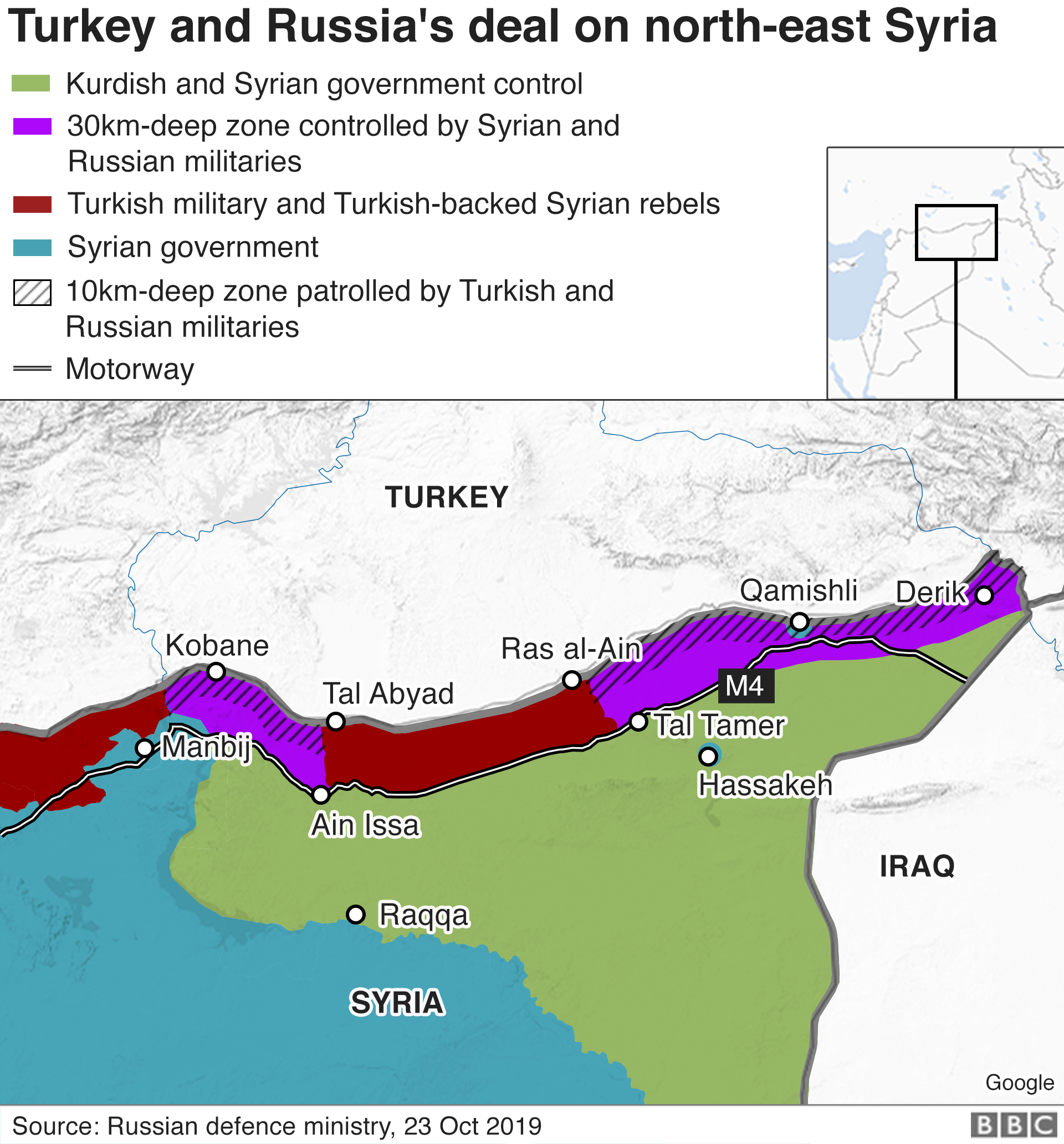 Map showing Turkey and Russia's deal on north-east Syria (23 October 2019)