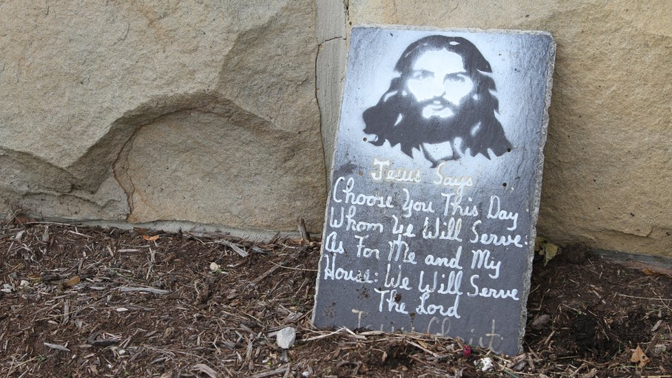 Stone slabs with Biblical quotes in Jamestown