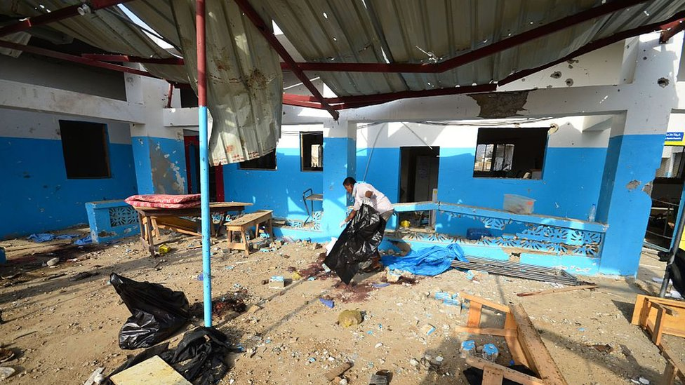 MSF-run hospital in Abs, in the rebel-held northern province of Hajjah, after it was hit apparently by a Saudi-led coalition air strike