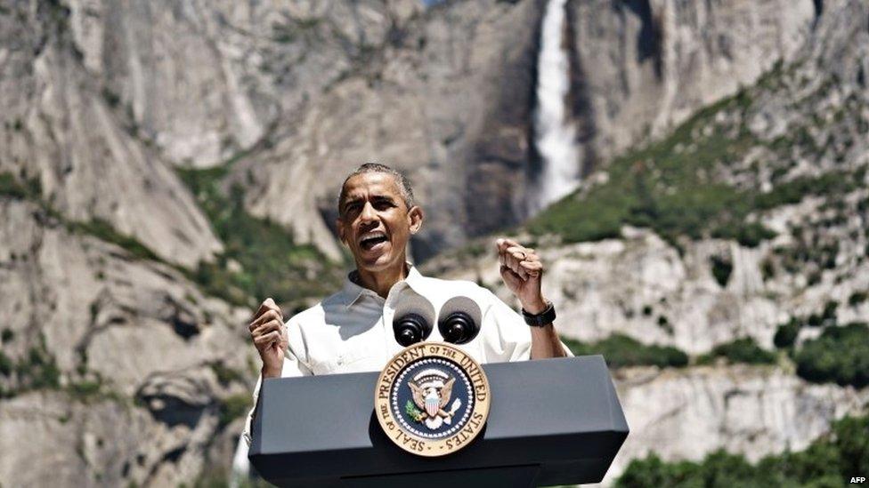 President Barack Obama speaking in Yosemite National Park, California