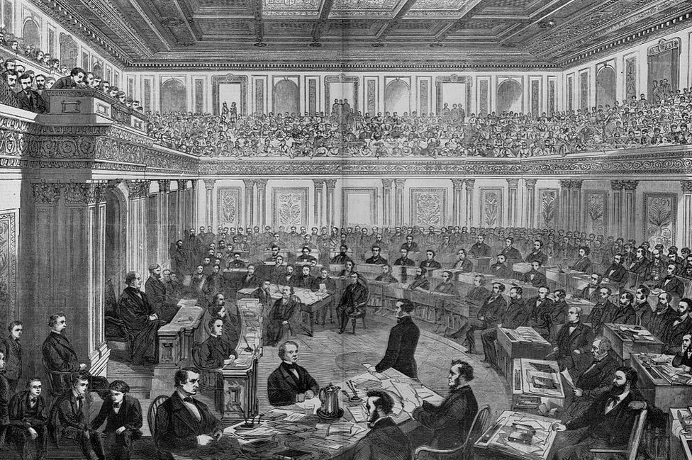A wood engraving shows the Senate trial of Andrew Johnson