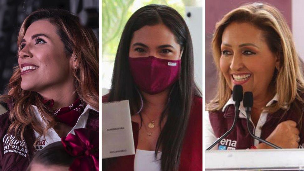 Las candidatas de Morena Marina del Pilar, Indira Vizcaíno y Lorena Cuéllar