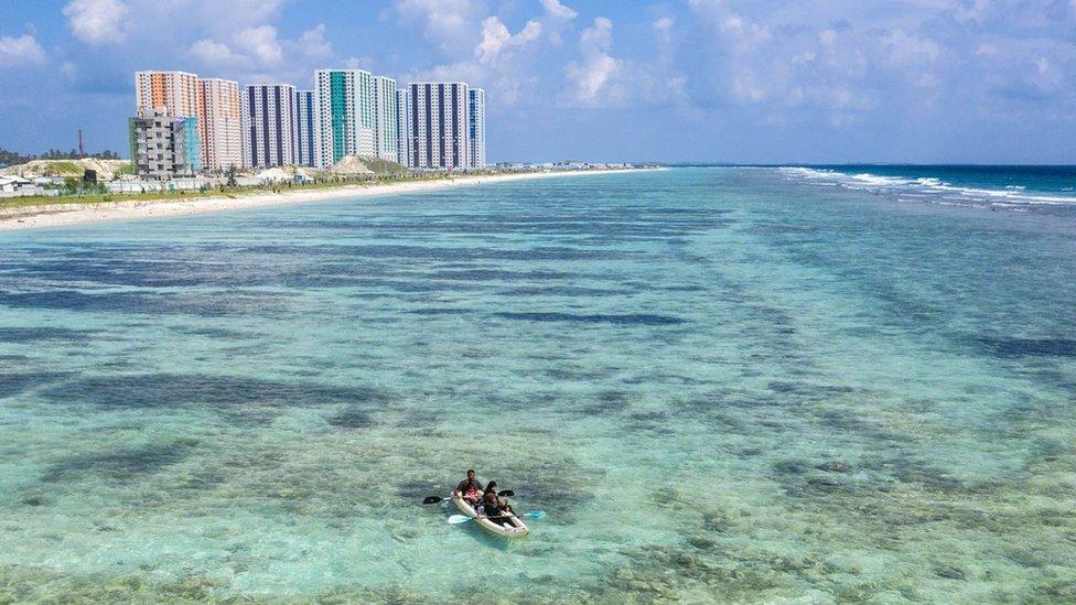 Una playa de Maldivas