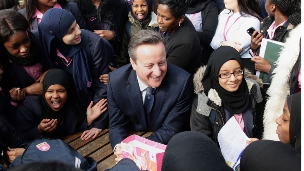 David Cameron visiting an academy school in London this week