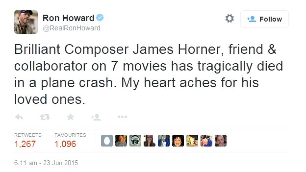 Ron Howard tweet about the death of James Horner