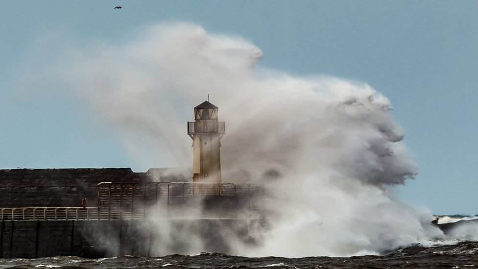 Waves breaking on the sea front in Ardrossan, Scotland, as Storm Gertrude hits the UK