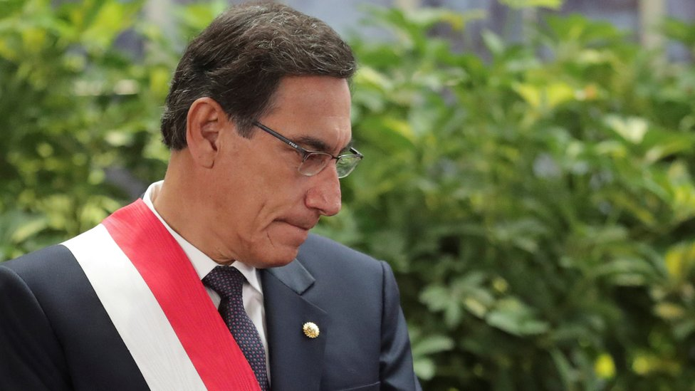"Peru""s President Martin Vizcarra attends a swearing-in ceremony at the government palace in Lima, Peru October 3, 2019"