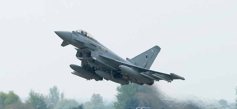 A RAF Typhoon deployed for Nato operations over Estonia, Latvia and Lithuania
