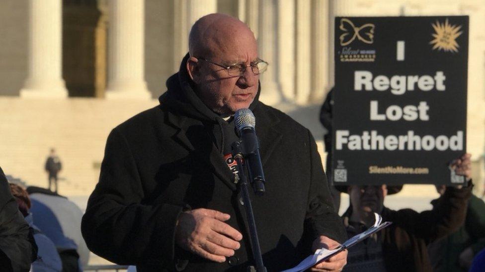 Father Stephen Imbarrato campaigning outside the Supreme Court