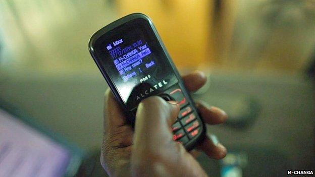 Phone showing M-Changa transaction