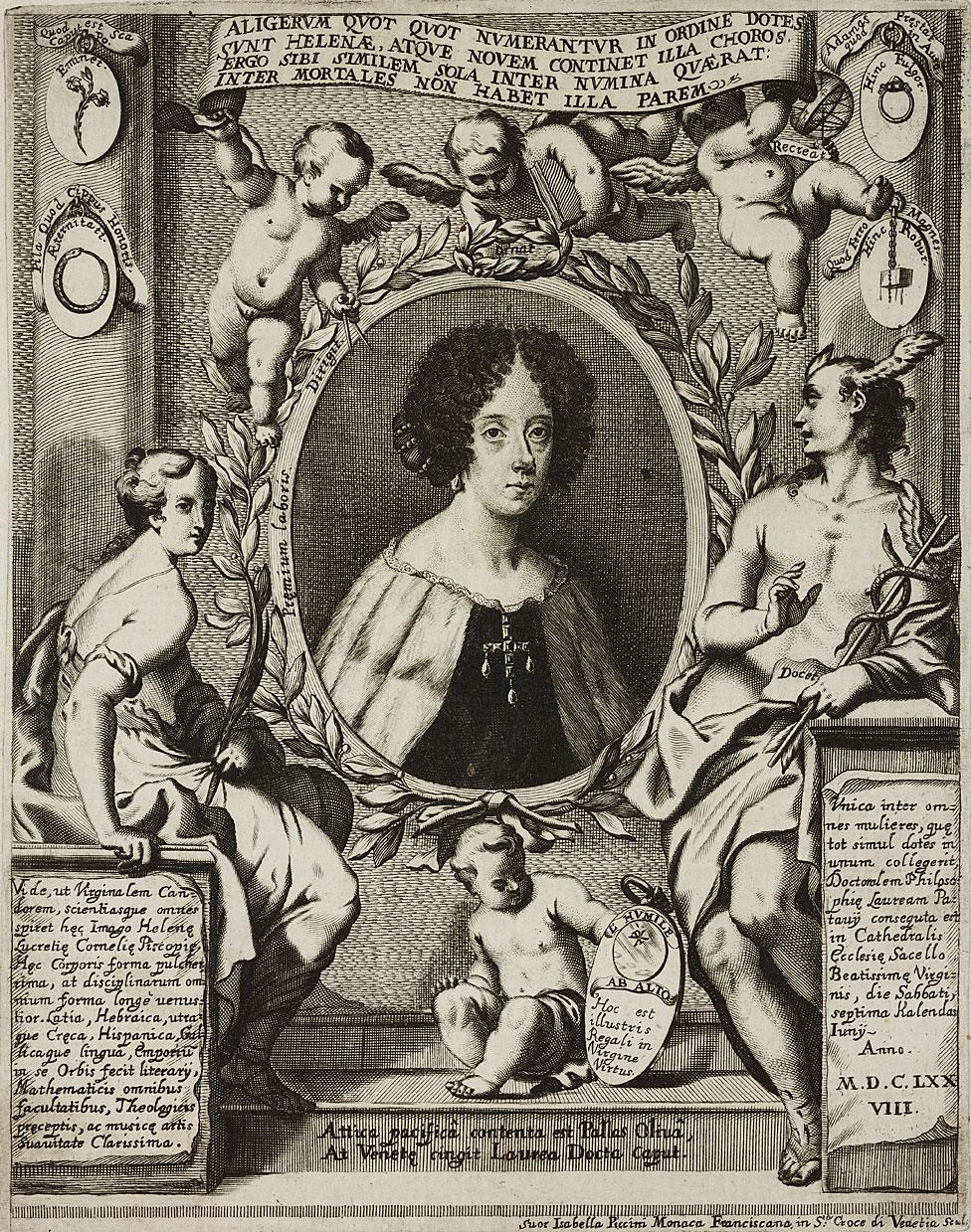 Retrato de Elena Lucrezia Cornaro Piscopia (1646-1684), erudita italiana, grabado de Isabella Piccini, de La Conchiglia celeste (La concha celestial), de Giovanni Battista Fabri, 1690, Venecia.