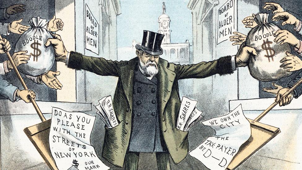 Una de las muchas caricaturas políticas del siglo XIX que criticaron la corrupción y el poder monopólico de Jay Gould.