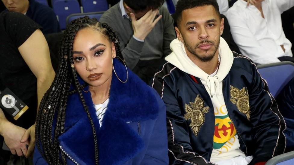 Leigh-Anne Pinnock and Andre Gray attend the Philadelphia 76ers and Boston Celtics London game at The O2 Arena on 11 January 2018 in London