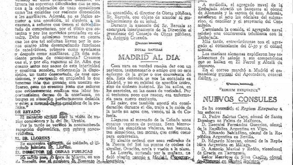 Un artículo del diario ABC del 22 de mayo de 1918 sobre la gripe.