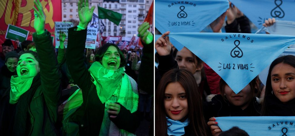 Women protesting the Argentina abortion debate