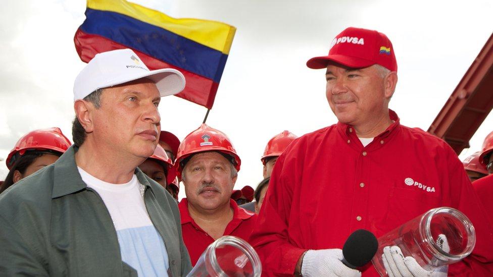Igor Sechin y el expresidente de PDVSA Rafael Ramirez.