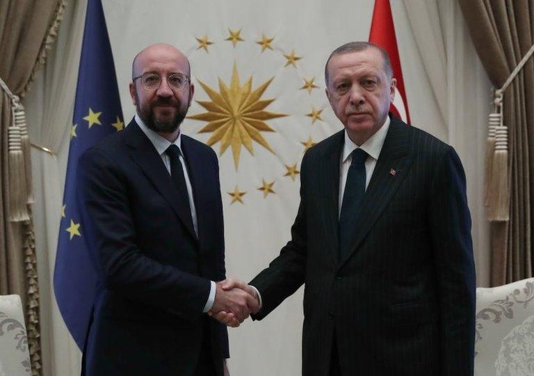 AB Konseyi Başkanı Charles Michel ve Cumhurbaşkanı Recep Tayyip Erdoğan