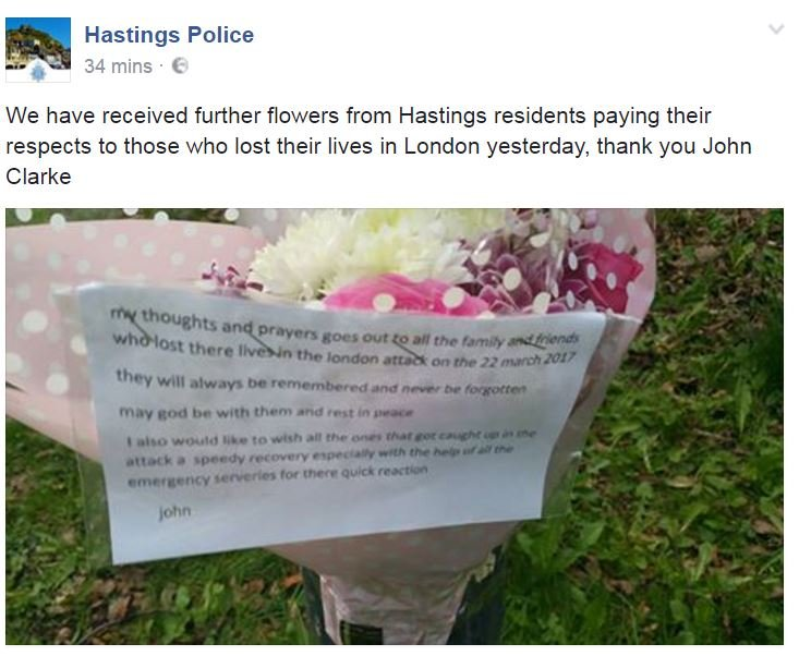 Screen grab of Facebook post by Hastings Police