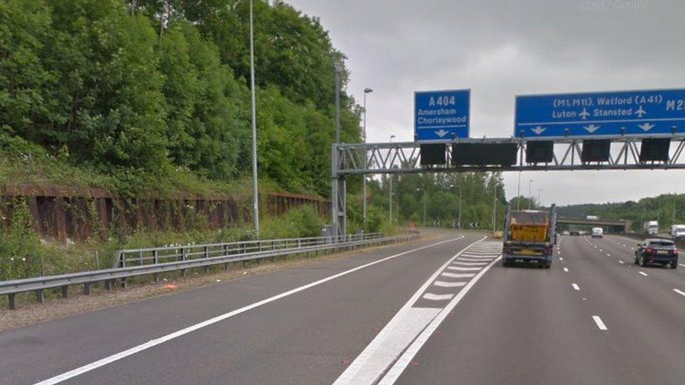 M25 slip road crash kills car passenger