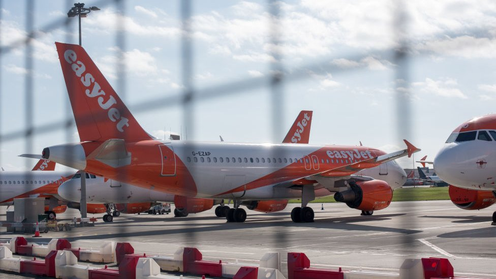EasyJet planes at Southend in April