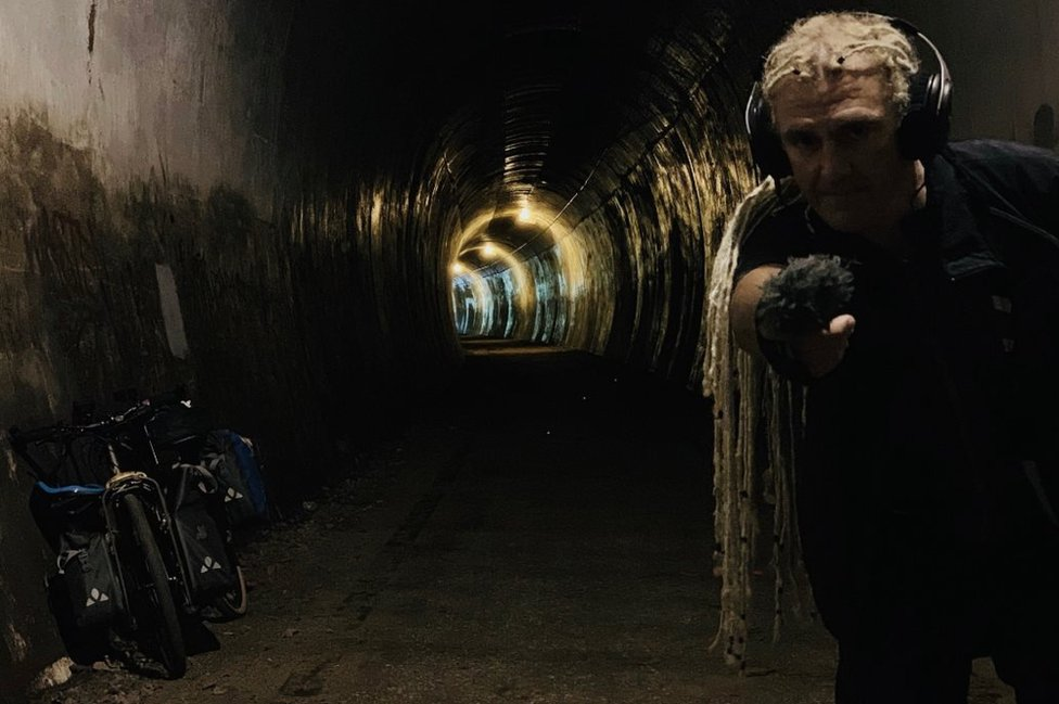 Paul records in a tunnel