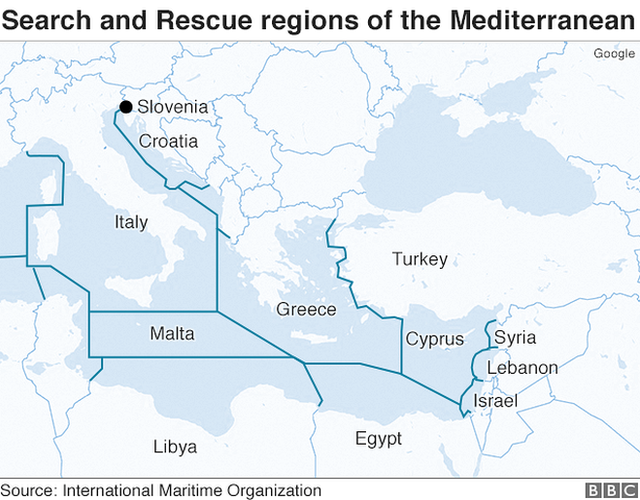 Map showing search and rescue zones in eastern Mediterranean