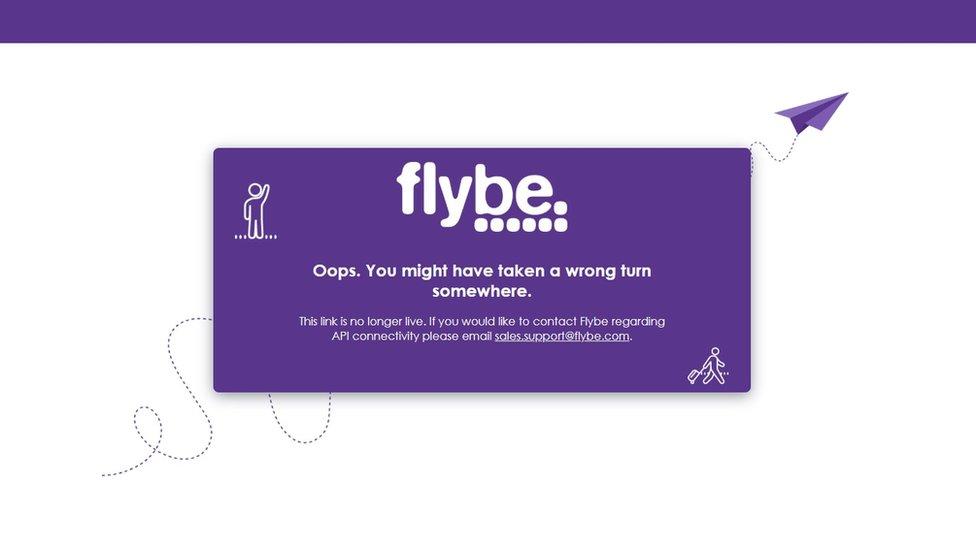 Flybe website error message