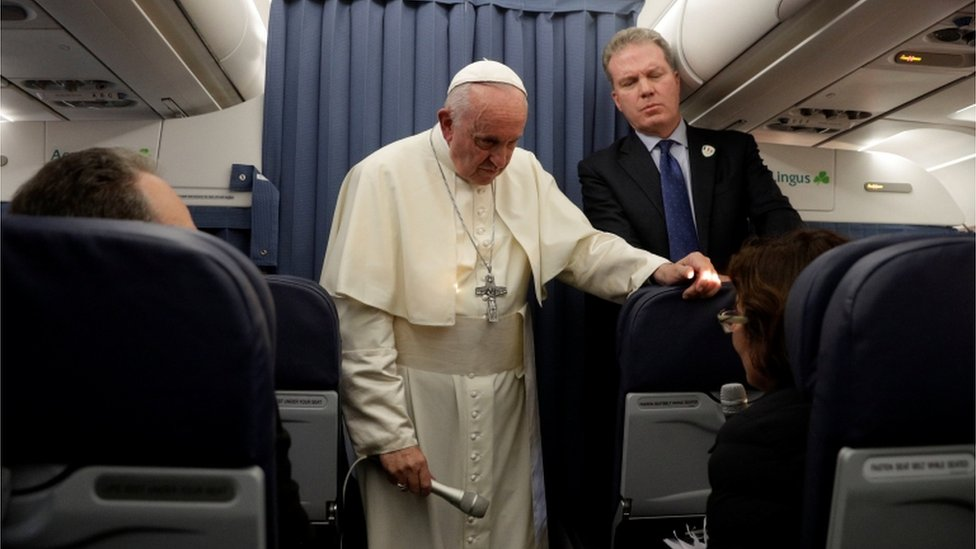 Pope Francis addresses journalists on the Papal plane returning from Dublin to Rome, 26 August 2018