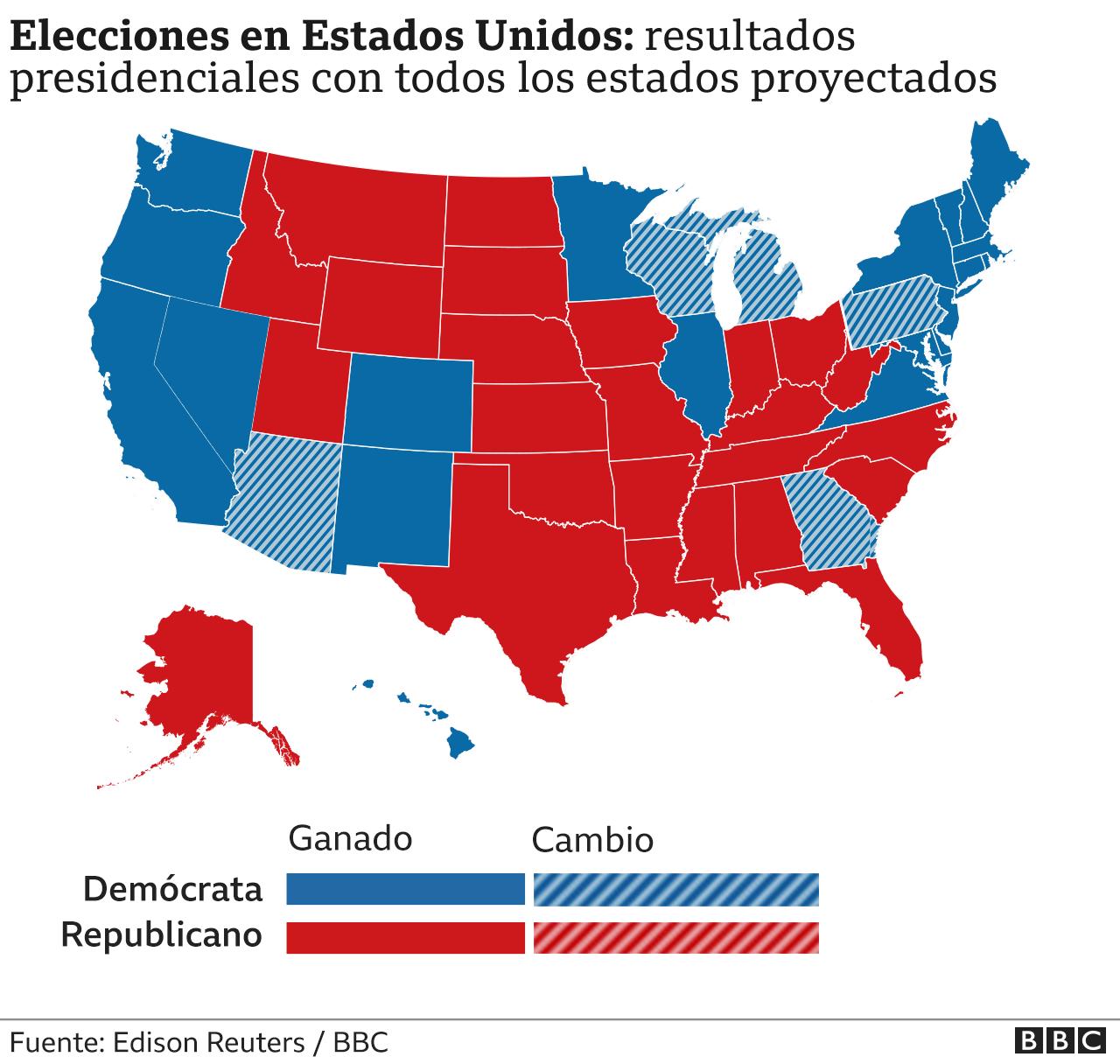Mapa resultados presidenciales con todos los estados proyectados