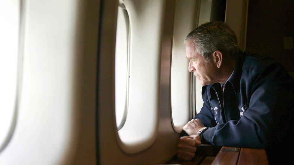 George W Bush surveys Katrina damage in 2005