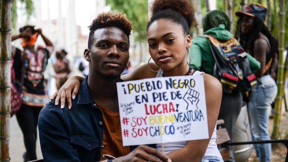 Protesta contra el racismo en Colombia.
