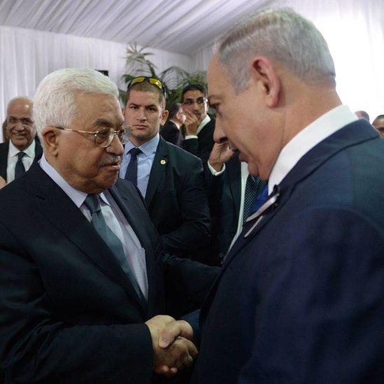 Mahmoud Abbas y Benjamin Netanyahu.
