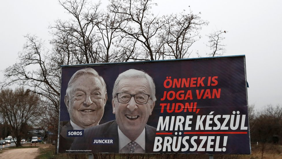 "A government billboard is seen in Budapest, Hungary, March 13, 2019. The billboard reads, ""You also have the right to know what Brussels is up to"","