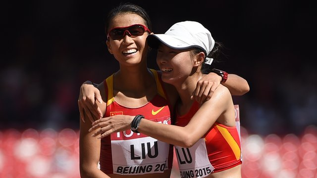 Hong Lui and Xiuzhi Lu claim gold and silver in the 20km walk