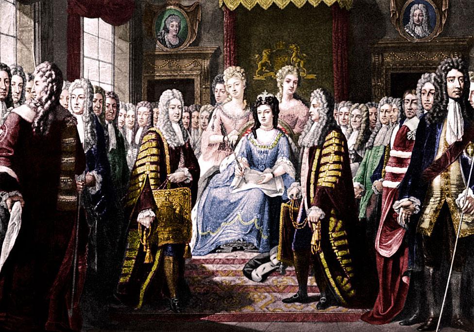 Los artículos de la Unión presentados por los comisionados a la reina Ana. Los Actos de la Unión fueron firmados en 1706 y 1707, creando el Reino de Gran Bretaña.