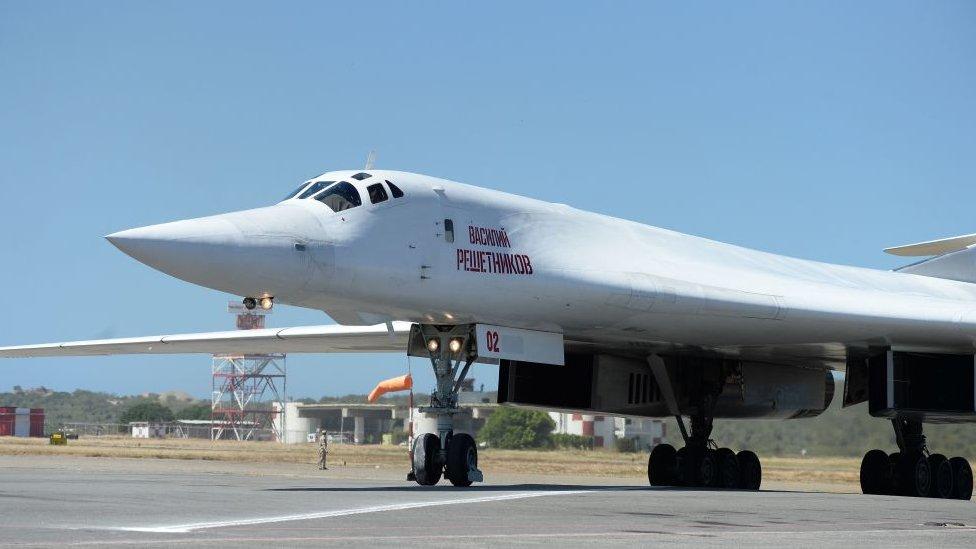 Un avión Tu-160 en Caracas