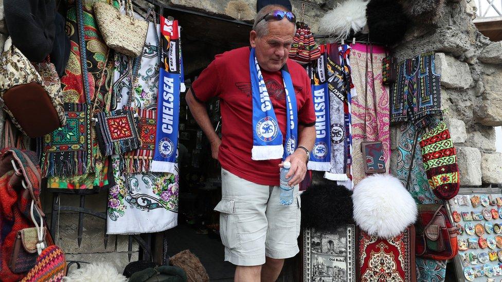 Chelsea fan in Baku