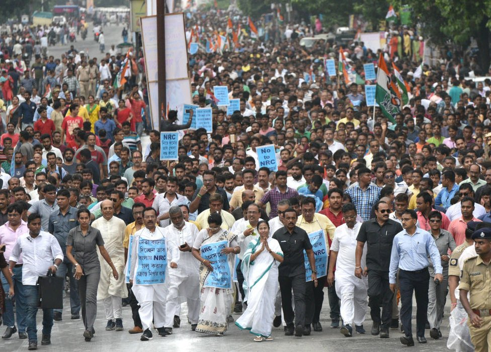 West Bengal chief minister Mamata Banerjee during a protest against NRC in September.