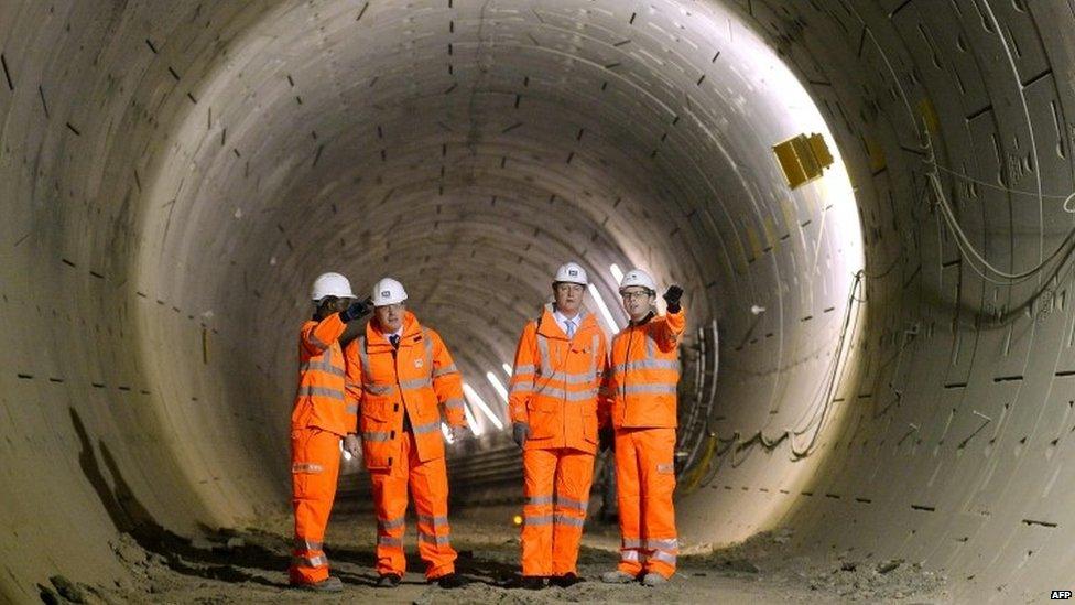 David Cameron and Boris Johnson visit Crossrail construction site