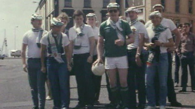 Northern Ireland football fans in Carrickfergus prepare to head out to Spain in 1982
